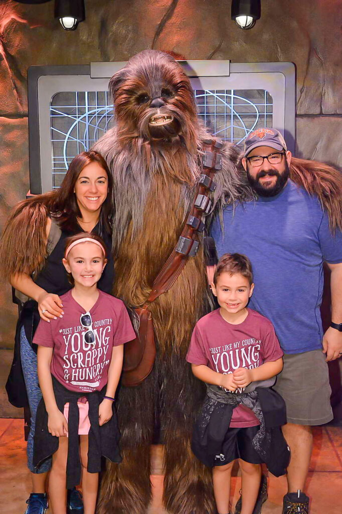 photo of Schneider family with Wookie