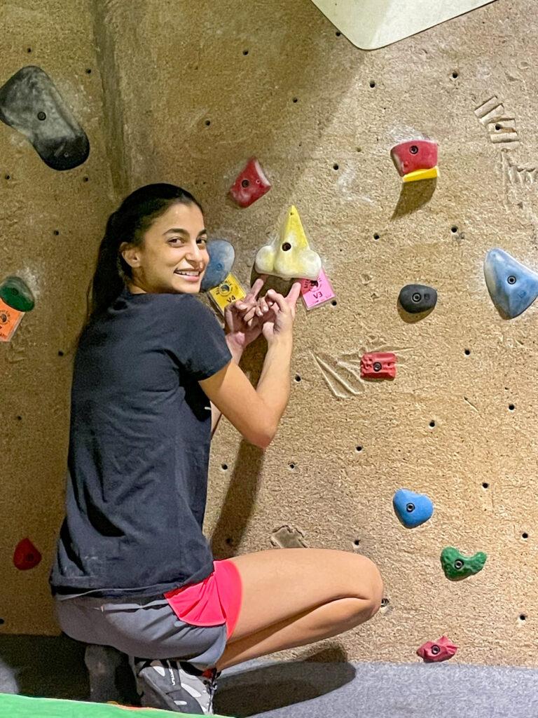 photo of Stephanie at climbing gym