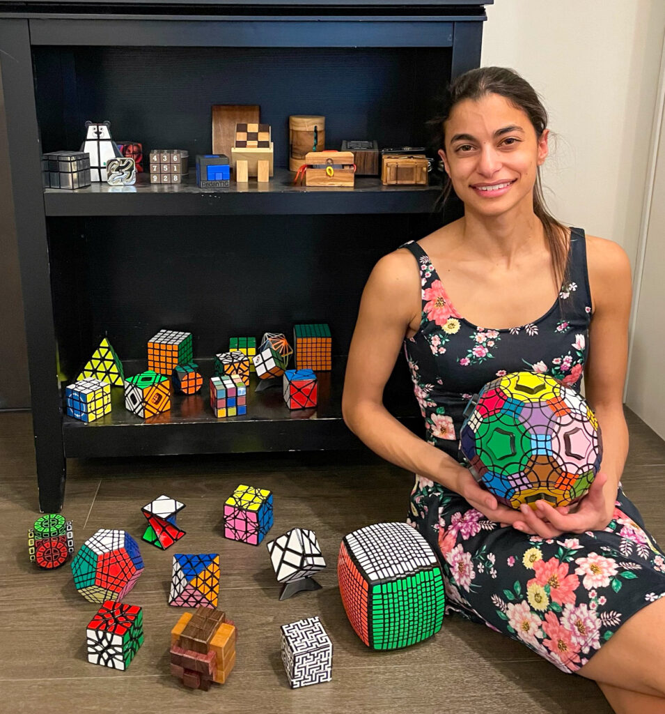 photo of Steophanie with Rubik's cubes
